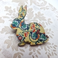 Yellow Vintage Floral Rabbit Brooch