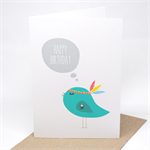 Birthday Card Female - Turquoise Birdie with Feathers - HBF137
