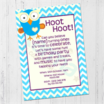 Giggle & Hoot inspired, Owl blue orange Birthday invitation DIGITAL DOWNLOAD
