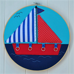 """Gone Sailing"" 3D hoop art"
