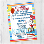 Cat in the Hat Dr Seuss Birthday invitation DIGITAL DOWNLOAD