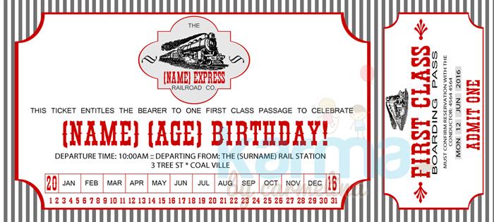 Vintage Train Ticket Birthday Invitation DIGITAL DOWNLOAD