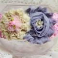 Shabby-Chic Flower Headband - Grey & Pink