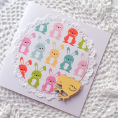 Easter wooden chicken lasercut pastel bunnies rabbit lace doily cute card