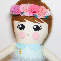 Flower crown pink rag girl doll