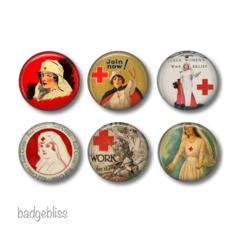 Magnets - Vintage Nurse and Red Cross - set of 6 fridge magnets