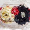 Shabby-Chic Flower Headband - Burgandy & Black