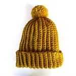 Beanie unisex chunky knit pom pom woollen winter hat crocheted beanie mustard