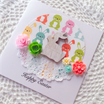 Easter bunny rabbit wooden lasercut pastel flowers lace doily cute card