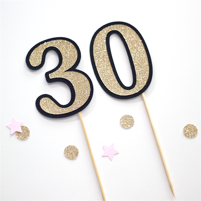 30th Birthday Cake Topper Gold Glitter And Black 30 Little Paper