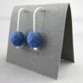 Blue Snakeskin Faceted Czech Glass and Sterling Silver Dangle Earrings