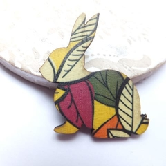 Cream, Olive and Cranberry Leaves Rabbit Brooch
