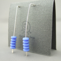 Cornflower Blue Stacked Czech Glass and Sterling Silver Earrings