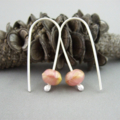 Pink Lemonade Czech Glass and Sterling Silver Earrings