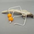 Persimmon Orange Czech Glass and Sterling Silver Square Hoop Earrings