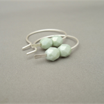 Eau De Nil Round Hoop Czech Glass and Sterling Silver Earrings