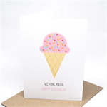 Birthday Card Girl - Strawberry Icecream with Sprinkles - HBC181