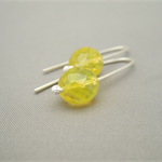 Sherbert Yellow Czech Glass and Sterling Silver Earrings