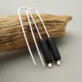 Inky Black Czech Glass and Sterling Silver Tube Earrings
