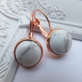Rose Gold and Marble French Hook Earrings or Studs