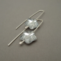 Silvery Star Czech Glass and Sterling Silver Drop Earrings