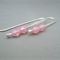 Sparkly Pink Faceted Czech Glass Sterling Silver Modern Drop Earrings