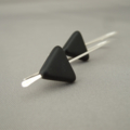 Black Triangle Geometric Czech Glass and Sterling Silver  Earrings