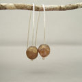 Chocolate Bronze Dot Sterling Silver and Czech Glass Earrings