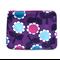 Purple Retro Flowers zippered pouch / zip purse . Ladies, Adult, Teen Gift