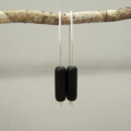 Inky Black Czech Glass and Sterling Silver Tube Earrings
