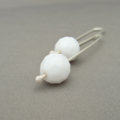 Snow White Opaque Czech Glass and Sterling Silver Contempary Earrings