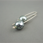 Silvery Sage Czech Glass and Sterling Silver Modern Earrings