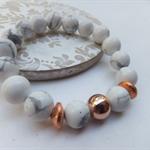 White Marbled Howlite Gemstone Bracelet with 18k Rose Gold Filled Bead and Brush