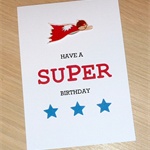 Kids Super Hero Happy Birthday card - boys or girls
