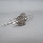 Grey Autumn Leaf Czech Glass Modern Dangle Earrings