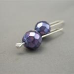 Purple Iris Czech Glass and Sterling Silver Dangle Earrings