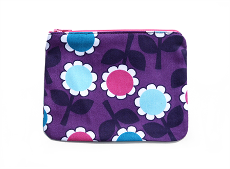 Purple Retro Flowers zippered pouch / zip purse . Ladies, Adult, Teen Gift