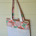 Mini Tote Bag - Green & Peach Butterflies/Patterned White - Totally Reversible