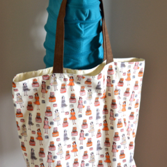 "Large Tote Bag - ""Bon Voyage"" Fabric"