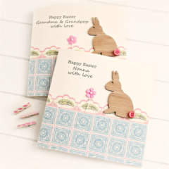 Personalised Easter card | Bamboo Rabbit | Happy Easter
