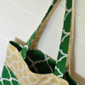Mini Tote Bag - Green & Neutral Geometric Patterns - Totally Reversible