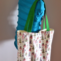 """Medium Tote Bag - """"Bon Voyage"""" Fabric with contrasting base and straps"""