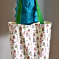 Medium Tote Bag - Cute Fashion Print Fabric with contrasting base and straps