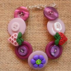Purple strawberry button bracelet