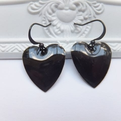 Puffy Black Heart Earrings