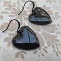 Puffy Black Heart Earrings