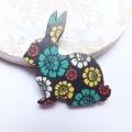 Black Flower Rabbit Brooch