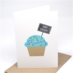 Birthday Card Girl - Blue Cupcake with Chalkboard Sign - HBC183