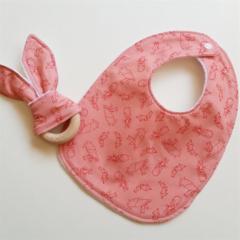 Pink rabbit girl baby bib and teether teething ring gift set