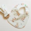 Easter neutral rabbit girl boy baby bib and teether teething ring gift set